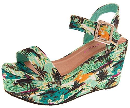OLP341 Tropical Verano Playa Dolcis de Mujer Azul Sandalias de Aqua Plataforma dxxv7