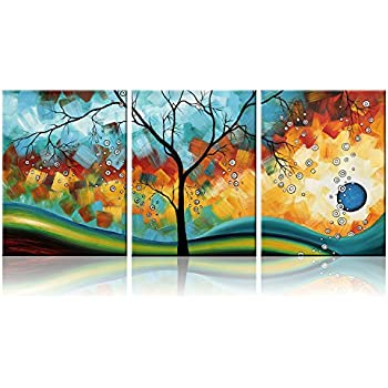 Ode-Rin Art - Modern Abstract Landscape Wall Art Tree 3 Pieces Artwork Blue Framed  sc 1 st  Amazon.com & Amazon.com: Ode-Rin Art - Modern Abstract Landscape Wall Art Tree 3 ...