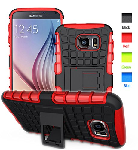 S6 case,Galaxy S6 Case,S6 2 In 1 Plastic and TPU Hybrid Rubber Strong Hard Back Heavy Duty Shockproof Protective Armor Cover Phone Case with Stand for Samsung Galaxy S 6 - Red