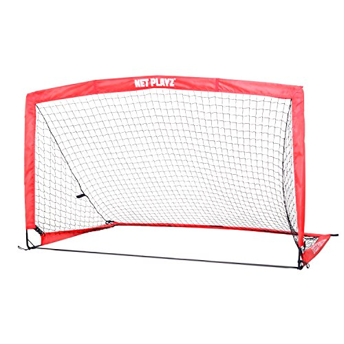 NET PLAYZ Instant Portable Medium Soccer Goal, 8 Ft x 4 Ft, Faster Fold into Triangle Shape, Easy Carry, Set up Less Than 45 Second, Carry Bag Included