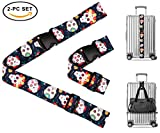 Sugar Skull Day of the Dead Travel Luggage Strap Suitcase Security Belt. Heavy Duty & Adjustable. Must Have Travel Accessories. TSA Compliant. 1 Luggage Strap & 1 Add A Bag Strap. 2-Piece Set.