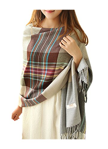 ARJOSA-Women-Knitted-Plaid-Oversized-Long-Scarf-Shawl-Wrap