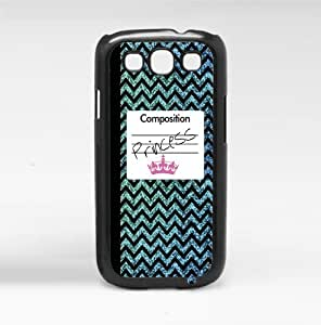 Blue Princess Glitter Chevron Composition Notebook with Pink Crown Hard Snap on Phone Case (Galaxy s3 III)