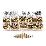 300pcs M3 Brass Hex Column Standoff Spacer Screw Nut Assortment Kit Box