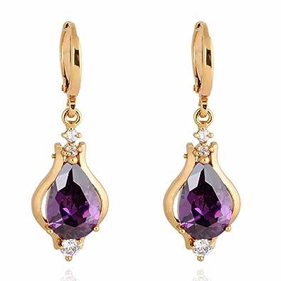 Yazilind Elegant Unique Design 18K Gold Plated Inlay Teardrop Cubic Zirconia Dangle Drop Earrings for Women Jof8t