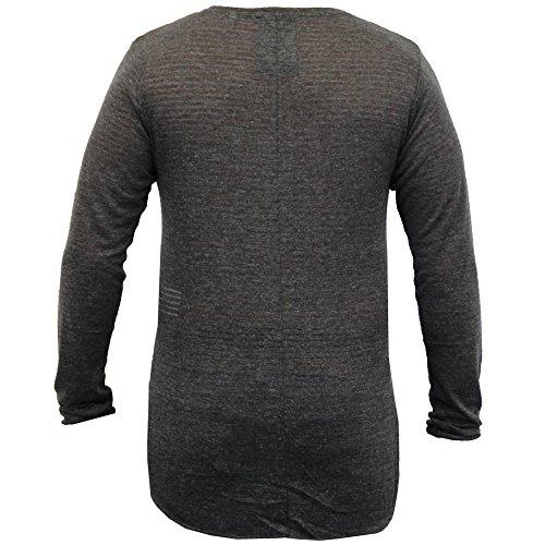 Herren Lange Linie Pulli Soul Star Pullover Hoher Niedriger Saum Gestricktes Top Pullover Winter - Dunkelgrau - FAHRENPKB, Medium