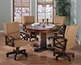 Coaster Home Furnishings Three-in-One Solid Oak Wood Pool Poker Game Dining Table Chairs set
