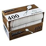 Blue Sky 400-Piece Disposable Plastic Tea Spoon Set, White