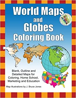 Amazoncom World Maps And Globes Coloring Book Blank Outline - Detailed world map