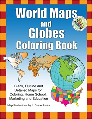 Amazoncom World Maps And Globes Coloring Book Blank Outline - Map of the world detailed
