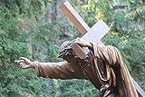 Photograph of Jesus Carrying the Cross Sculpture Christian Wall Art Easter Gift Unframed Bronze Green Photographic Print 5x7 8x10 8x12 11x14 12x18 16x20 16x24 20x30