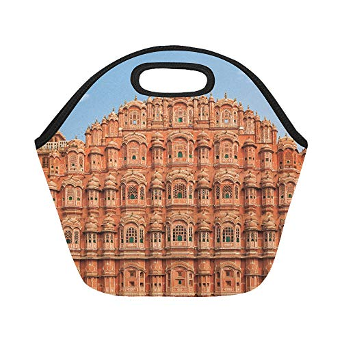 Insulated Neoprene Lunch Bag Facade Of Hawa Mahal Palace In Jaipur Rajasthan Large Size Reusable Thermal Thick Lunch Tote Bags For Lunch Boxes For Outdoors,work, Office, School