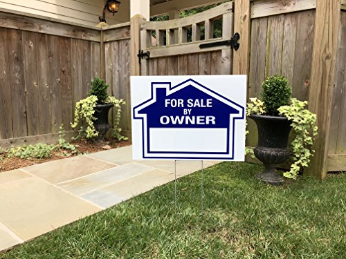 Sams Signs for Sale by Owner Sign Kit - 3 Double Sided Signs and 3 Heavy Duty H-Stakes - Blue Property Signs 18 X 24 and 12 X 18 - Directional Arrows - FSBO Lawn Sign - Premium Real Estate Signs