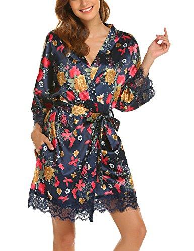 Satin Printed Sash - HOTOUCH Women's Lace Trim Flower Printed Nightgown Sleepwear Satin Short Robe