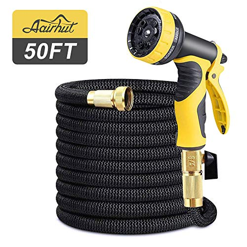 Aairhut 50 Feet Garden Hose, Expandable Water Hose with Double Latex Core, 3/4″ Solid Brass Fittings, Extra Strength Fabric – Flexible Expanding Hose with Metal 9 Function Spray Nozzle