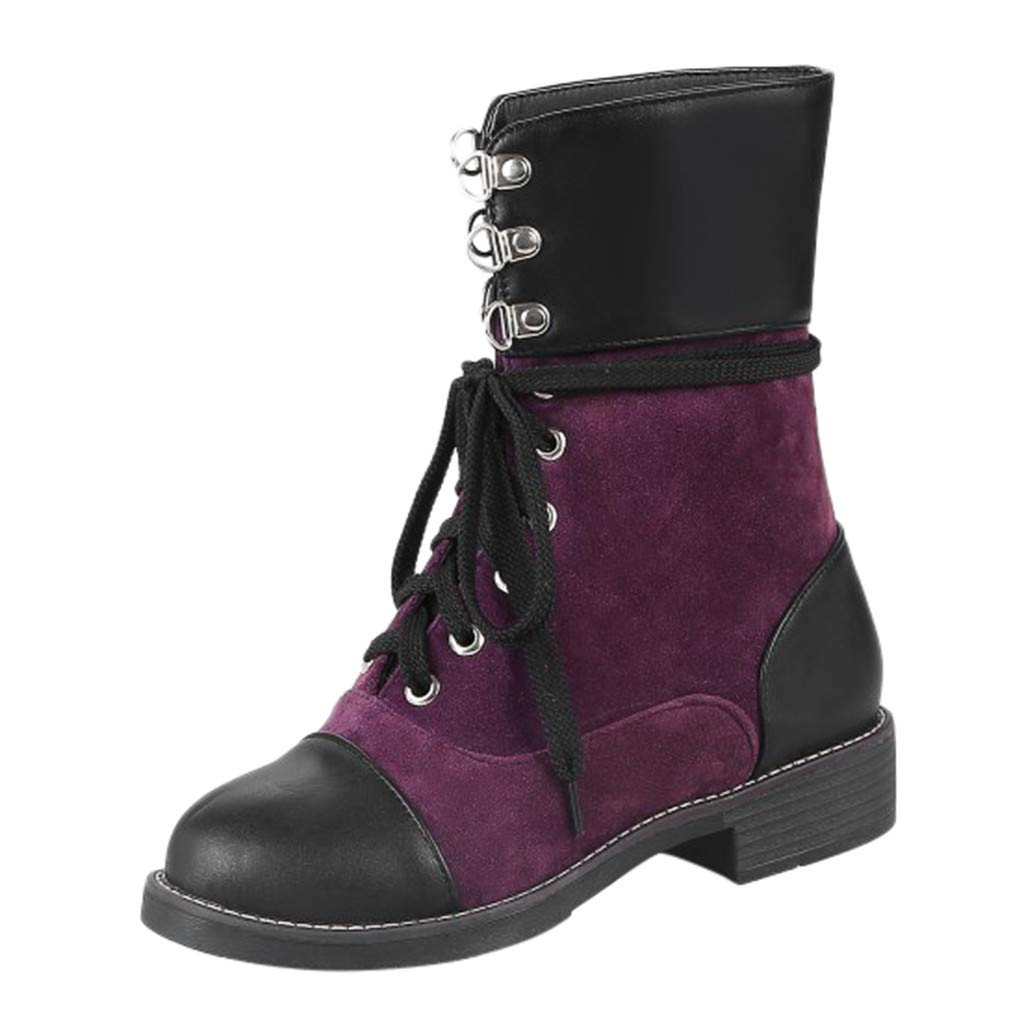 Redacel Women's Ankle Booties Casual Cross Lace-up Ladies Low Heeled Winter Shoes Boots(36,Purple by Redacel