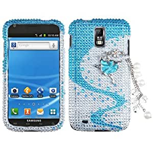 Blue White Wave Bling Jewel Crystal Case for Samsung Galaxy S2 S II S76W