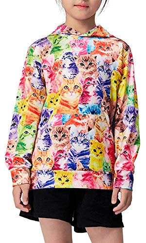 BFUSTYLE Girl Rainbow Cat Cheap Active Hoodies Kids Personalized BTS Outerwear Green Clothing Gifts 5t by BFUSTYLE