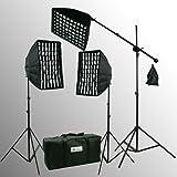 ePhoto HoneyComb Eggcrate Photo Softbox 2400 Watt Digital Video Photography Continuous Boom Stand Hair Lighting Kit Boom Set HGD2