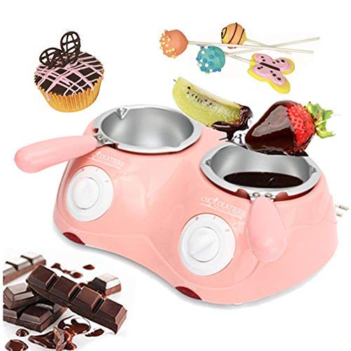 Candy Melting Pot, GIGRIN Electric Chocolate Melting Pot 250ml Chocolate Fondue with 24 Free Accessories, for Chocolate, Candy, Butter, Cheese, Caramel (Pink & Double Pot)