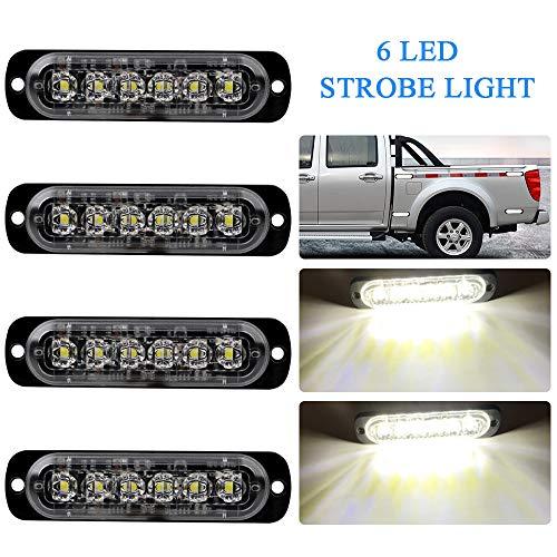 4pcs Ultra Thin 6LEDs White Warning Emergency Flashing Strobe Light Bar Surface Mount for all Vehicle,Truck,Trailer,Van,Motorcycle 12-24V ()
