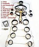 XURO 11pcs/set Stainless Steel female chastity,Whole body bdsm bondage restraints female chastity belt handcuffs adult sex slave game