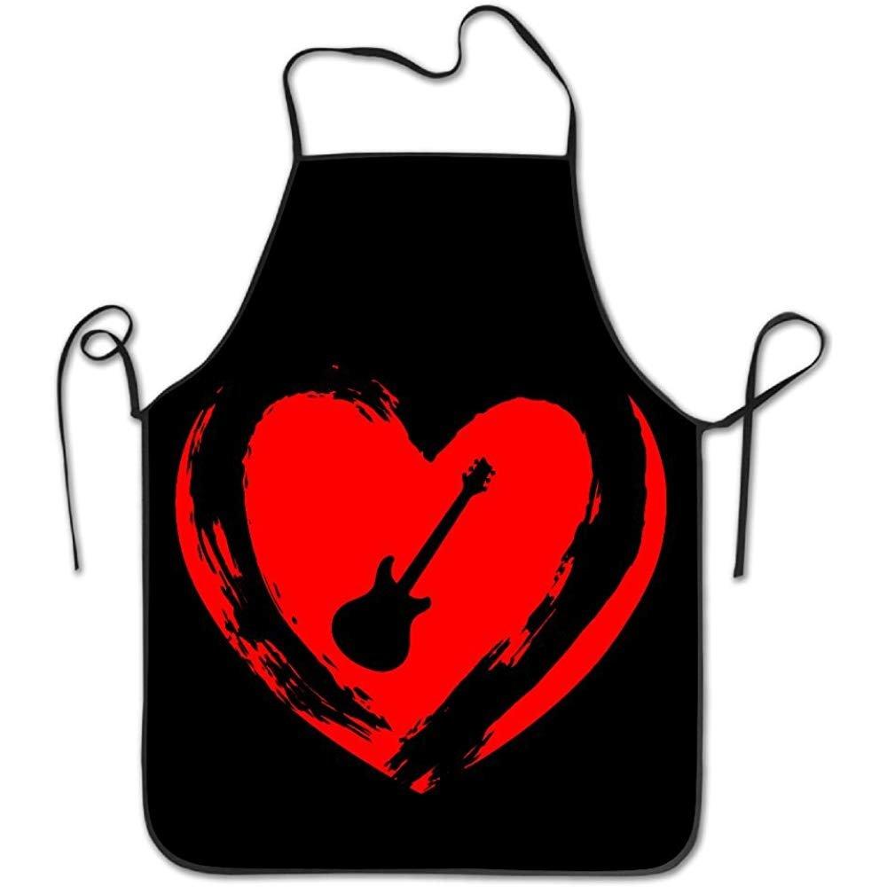 starobosエプロンベースギターラブハートよだれかけエプロン大人用レディースユニセックス耐久性快適な洗濯可能for Cooking Bakingキッチンレストラン   B07F7GRNFG