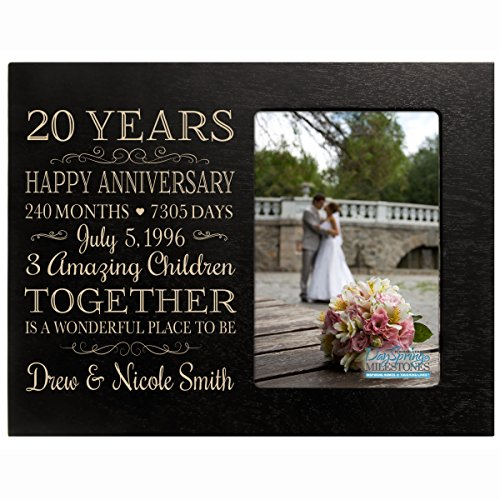 Personalized Twenty year anniversary gift for her him couple Custom Engraved wedding gift for husband wife girlfriend boyfriend photo frame holds 4x6 photo by DaySpring International (black)