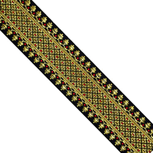 Jacquard Metallic Gold/Burgundy/Black JL315, Width: 1-5/8