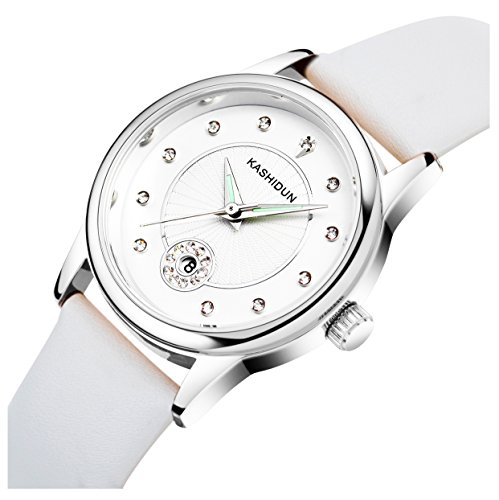 Diamonds White Dial (KASHIDUN Women's Watches Casual Quartz Analog Dress Fashion Waterproof Wristwatches Diamonds Dial Leather Band 905 (842 Silver White))
