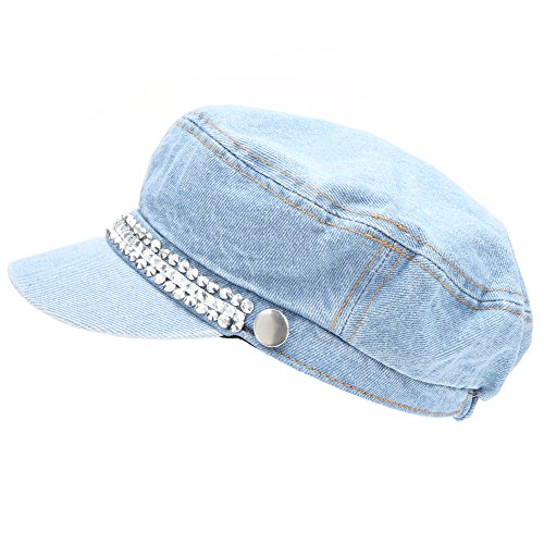 MIRMARU Women's 100% Cotton Greek Fisherman's Sailor Fiddler Hat Cap(4098-DENIM) -