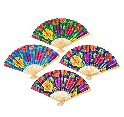 (DollarItemDirect 10 inches Hibiscus Folding Fan with Wooden Handle, Case of 144)