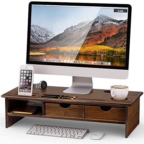 Tribesigns Monitor Stand Riser with Storage Organizer Drawers Bamboo