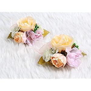 Charming Flower Boutonniere Pins for Wedding prom (2pcs) (Rose gold theme) 93