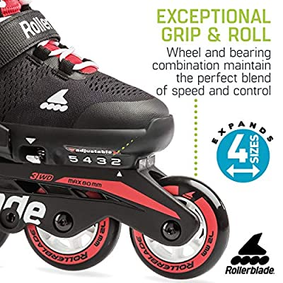 Rollerblade Microblade Boy's Adjustable Fitness Inline Skate, Black and Red, Junior, Youth Performance Inline Skates : Sports & Outdoors