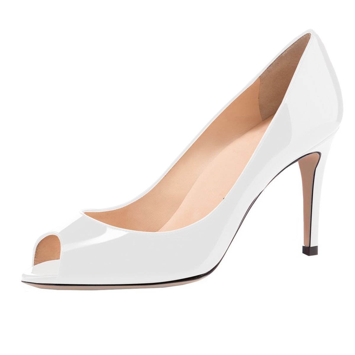 Eldof Women Peep Toe Pumps Mid-Heel Pumps Formal Wedding Bridal Classic Heel Open Toe Stiletto B07F1NPD7X 11 B(M) US|White