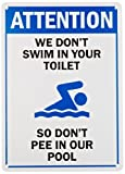 "SmartSign Plastic Sign, Legend""Funny Swimming Pool Message"" with Graphic, 14"" high x 10"" wide, Black/Blue on White"