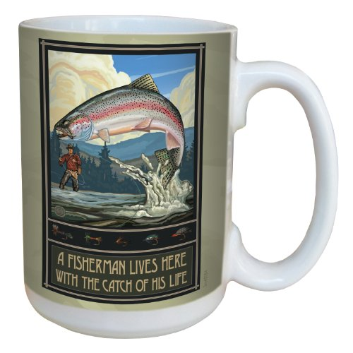 Tree-Free Greetings lm43184 Vintage Rainbow Trout Fisherman Fishing Trophy by Paul A. Lanquist Ceramic Mug, 15-Ounce, Multicolored