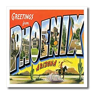 ht_160716_1 BLN Vintage US Cities and States Postcards - Greetings From Phoenix Arizona with Cowboy on a Horse with a Lasso and Scenes of the City - Iron on Heat Transfers - 8x8 Iron on Heat Transfer for White Material