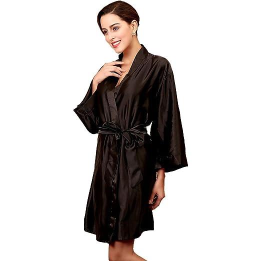 Sunbaby Women Silk Satin Nightgown Short Kimono Robe Sexy Sleepwear