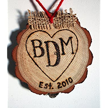 3 Letter Monogram Initial Heart Personalized Handmade Christmas Ornament Rustic Engraved Wood Tree Slice