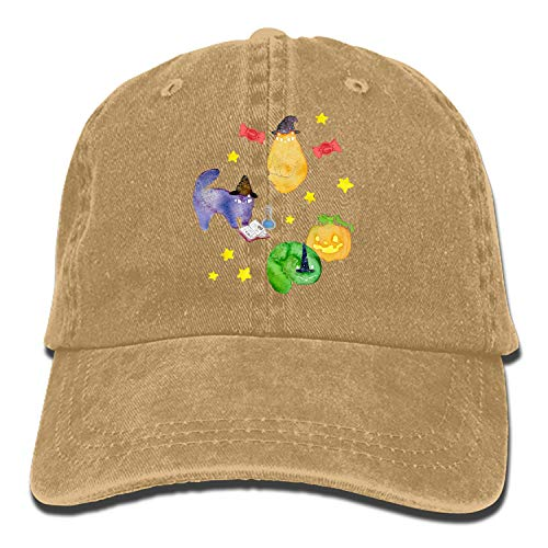 Men & Women Cotton Adjustable Cowboy Hat - Halloween Cats Vignette