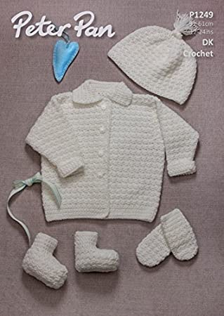 Peter Pan Baby Jacke, Mütze, Fäustlinge und Beute Muster 1249 DK ...