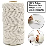 Ewparts 3MM x 109 Yard Macrame Cord, Natural Cotton Macrame Rope, Twisted Cotton Cord for Wall Hanging, Plant Hangers, Crafts, Gardenring, Decorative Projects