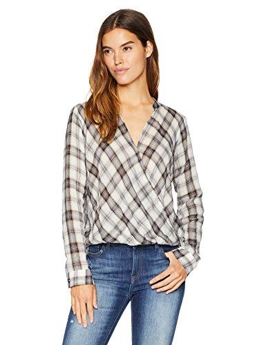Splendid Women's Surplice Front Plaid Shirt, M (Plaid Surplice)