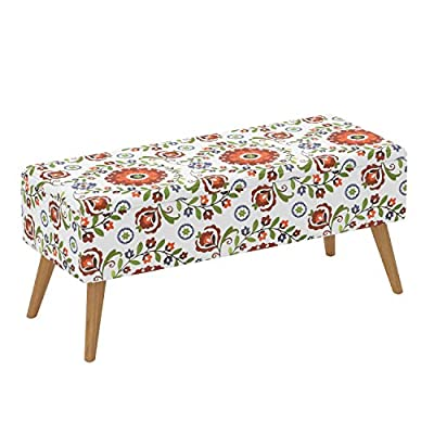 """Otto & Ben 37"""" Storage Bench - Mid Century Ottoman with EASY LIFT Top, Upholstered Shoe Ottomans Seats for Entryway and Bedroom, Retro Floral - COMFORT FOAM PADDING: superior seating comfort EASY LIFT TOP: two pneumatic(air-compression) hinges allow smooth opening and closing PERFECT FOR SPACE SAVING NEEDS: spacious hidden storage space for loose odds and ends - entryway-furniture-decor, entryway-laundry-room, benches - 51hQBOhxgyL. SS400  -"""