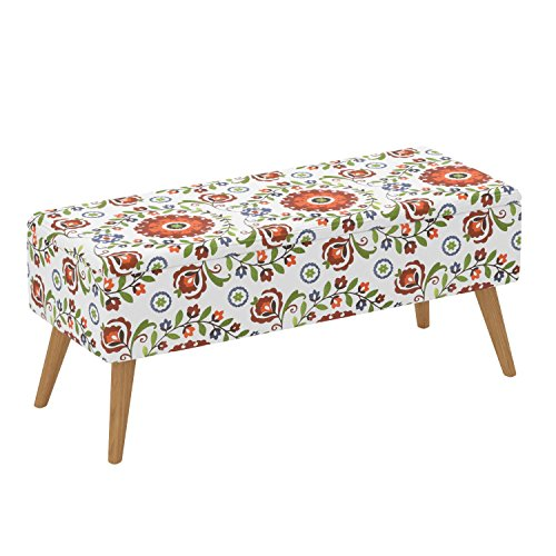 51hQBOhxgyL - Otto & Ben 37 Inch Storage Ottoman Bench with Easy Lift Top Upholstered Mid Century Large Shoe Entryway and Bedroom, Retro Floral