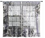 Abstract art sheer drapes, set with two 50''x84'' panels in warm gray, Geologic