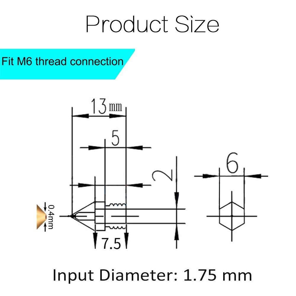 M6 10pcs 0.4 mm Brass 3D Printer Nozzle Print Head M6 Thread Nozzle for 1.75 mm filament ABS PLA
