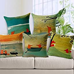 Cesttee Decorative 18 x 18 Inch Cotton Linen Pillow Cover Fox Square Throw Pillowcase Cushion Case Animal
